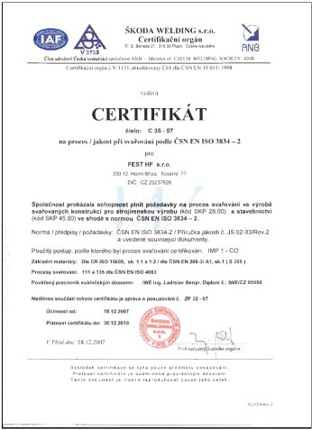 Certificate for the welding process